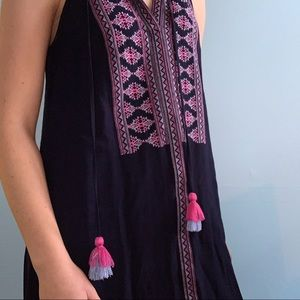 Francesca's Blue and Pink Embroidered Shift Dress